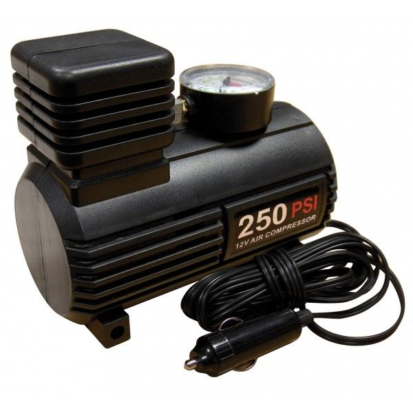 Tyre Inflator 12V Compact Compressor With Gauge 0250 Psi