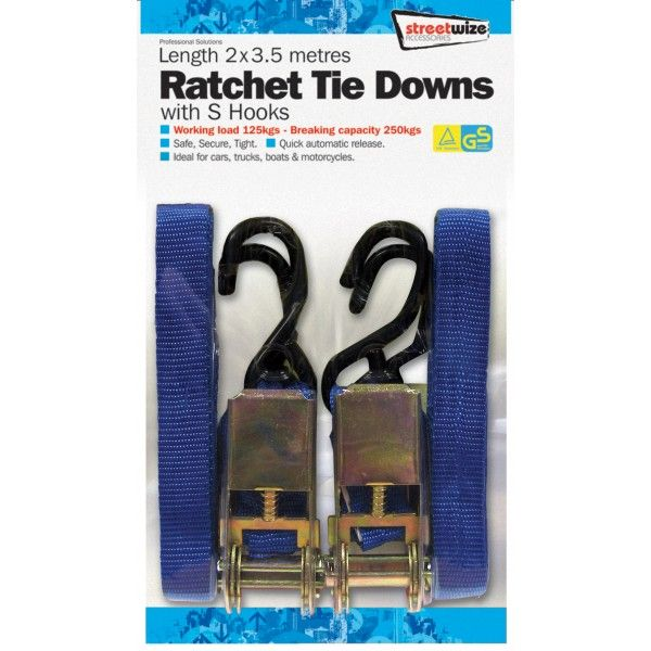 Ratchet Tie Down S Hooks 3.5M Pack Of 2