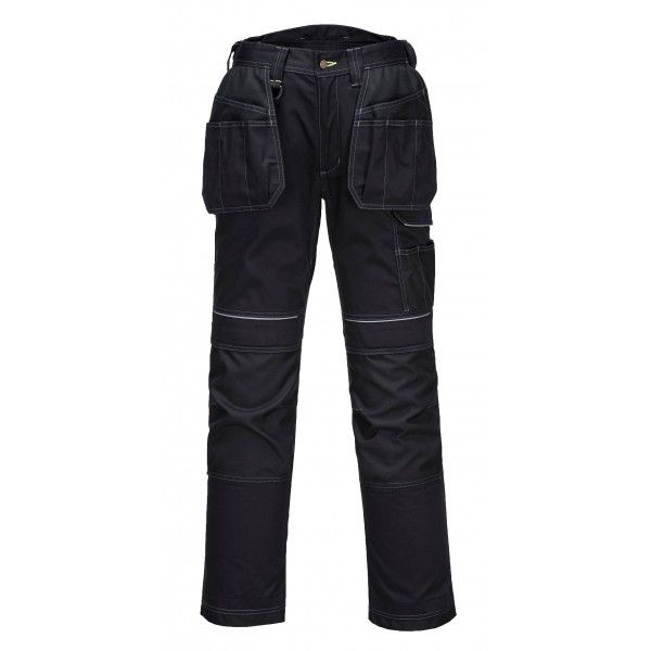 Pw3 Black Holster Work Trousers 34In. Waist Reg Leg