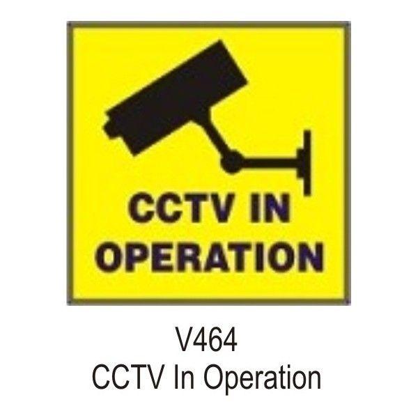 Outdoor Vinyl Sticker Yellow Cctv In Operation