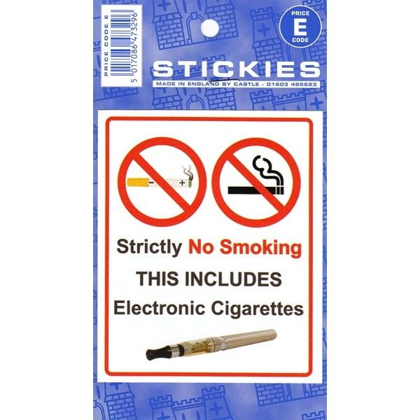 Indoor Vinyl Sticker White No Electronic Cigarettes