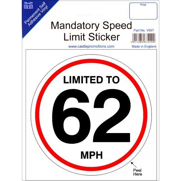 Speed Limit Sticker 62Mph