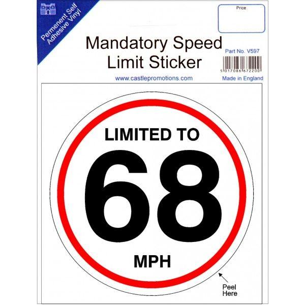 Speed Limit Sticker 68Mph