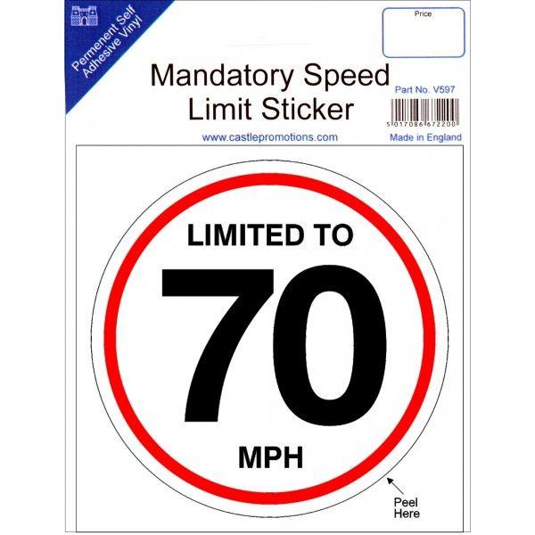 Speed Limit Sticker 70Mph