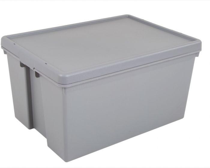 Wham 100% Upcycled Heavy Duty Box & Lid 62L Grey