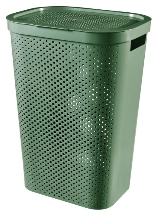 Curver Infinity Dots Laundry Hamper 60L Shale Green