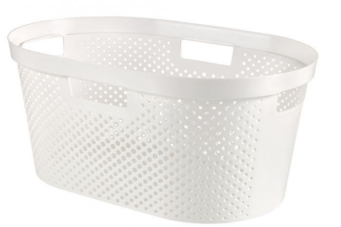 Curver Recycled Infinity Dots Laundry Basket 40L White