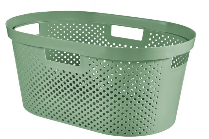 Curver Recycled Infinity Dots Laundry Basket 40L Shale Green