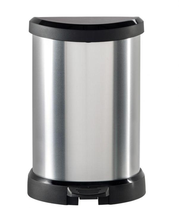 Curver Deco Black & Silver Pedal Bin 20L