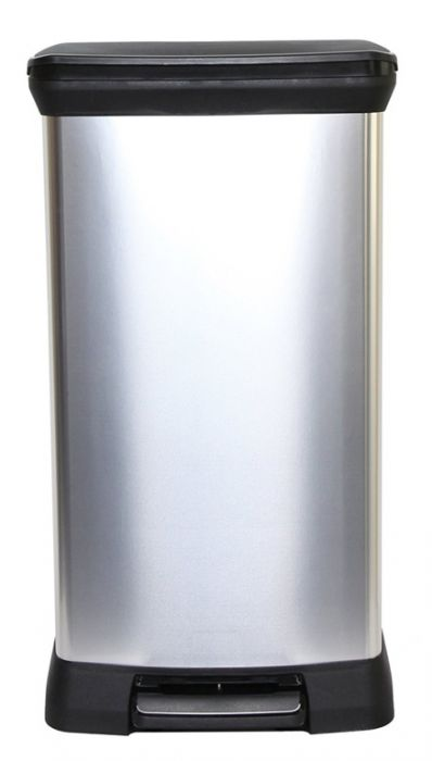 Curver Deco Black & Silver Pedal Bin 50L