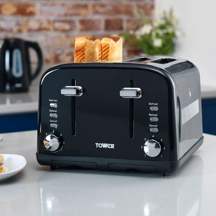 Tower Infinity Stainless Steel Toaster Black 4 Slice