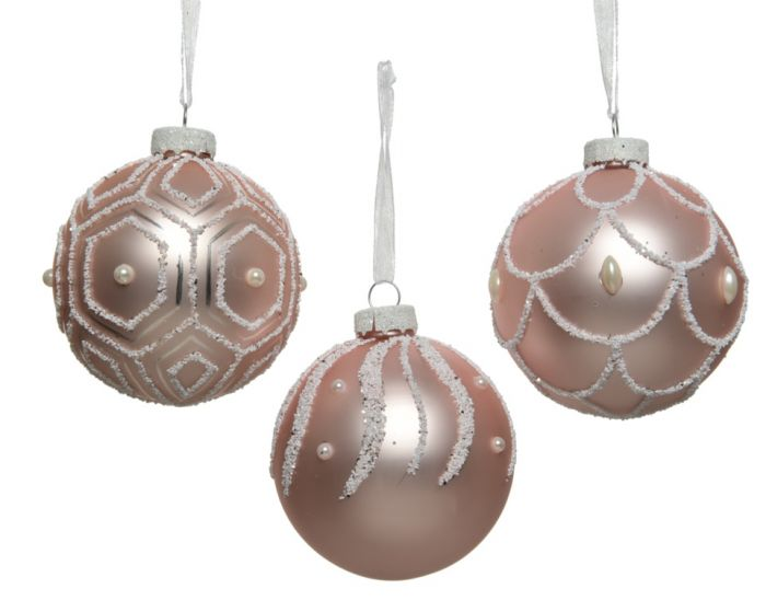 Glass Bauble Snow Pearl