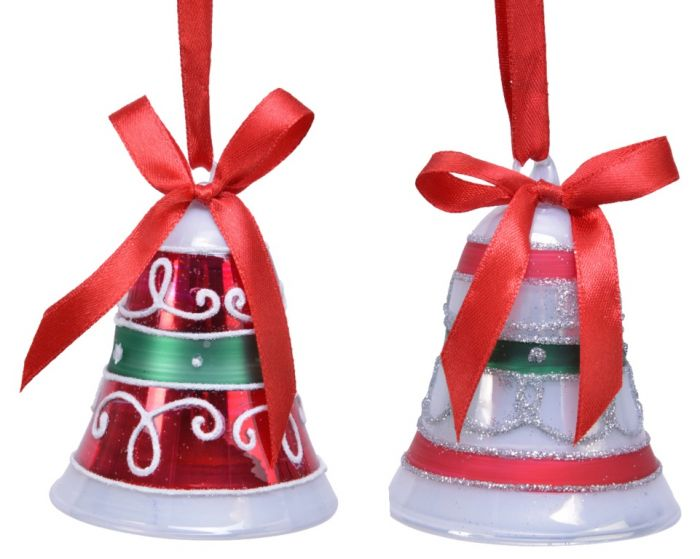 Glass Bell Curled Glitter Deco