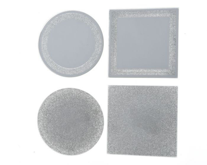 Glass Mirror Plate With Glitter