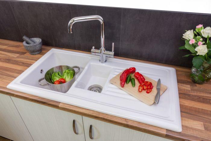 Reginox White Ceramic Reversible Sink 1.5 Bowl