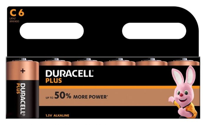 Duracell Plus Batteries Pack 6 C Cell