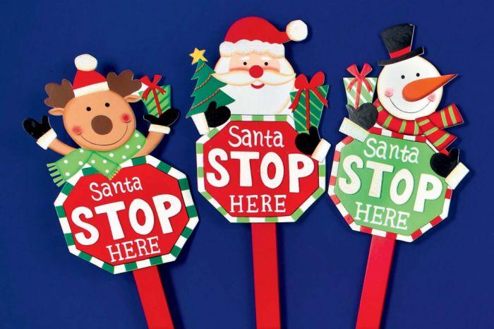 Santa Stop Here Sign Santa/Snowman/Reindeer