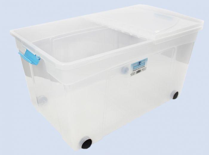 Tml Clik N Store Box & Lid 110L Clear With Wheels