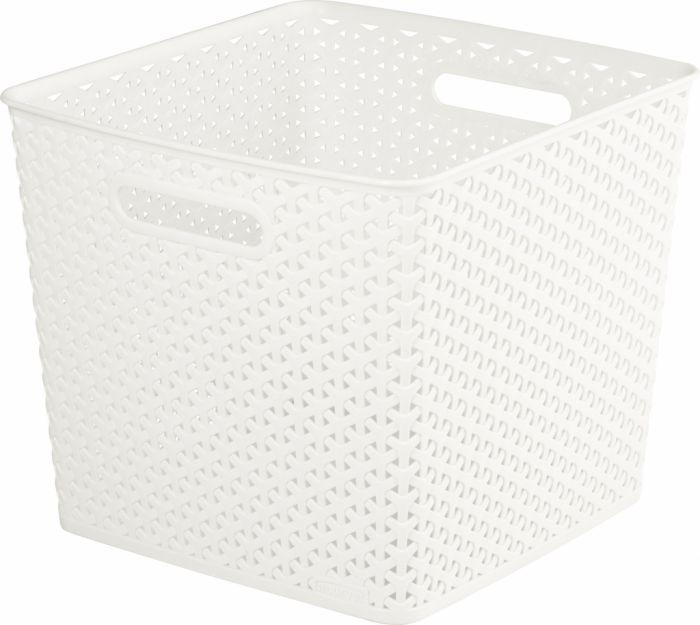 Curver Nestable Rattan Basket Vintage White 25L