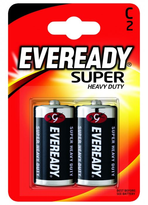 Eveready Super Heavy Duty Batteries C Pack 2
