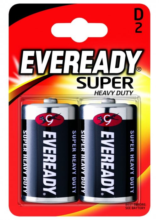 Eveready Super Heavy Duty Batteries D Pack 2
