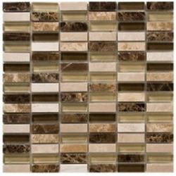Verona Marble + Glass Mix Mosaic Sheet Tile 326 X 272Mm