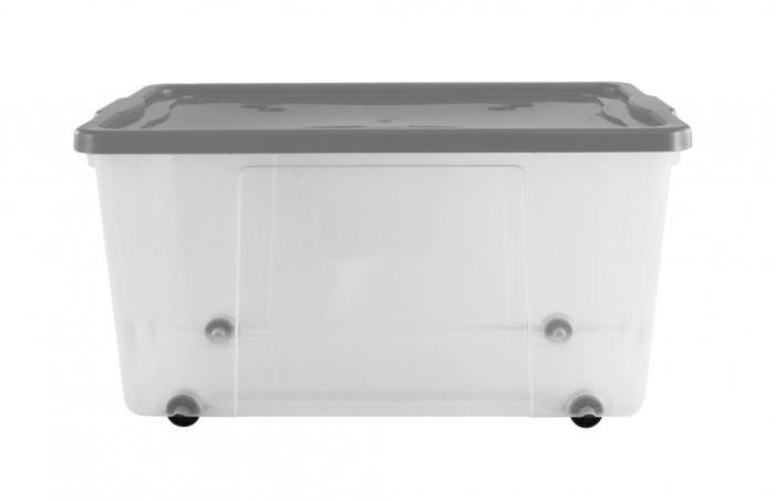 Premier Wheeled Box 100L Clear / Platinum Lid & Wheels