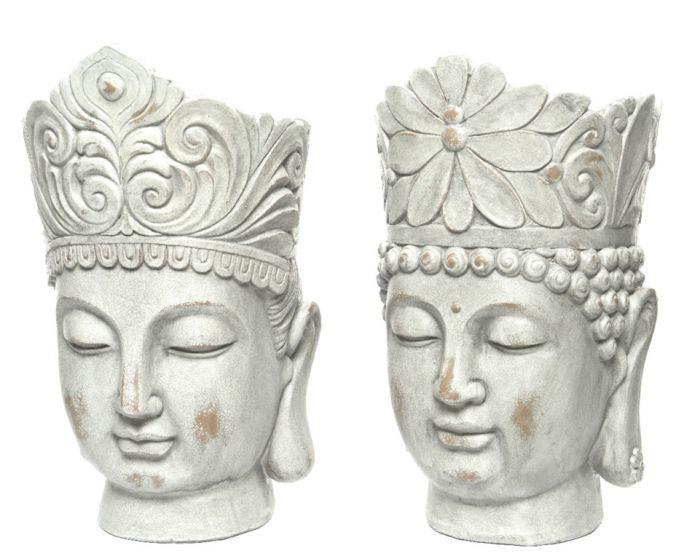Kaemingk Magnesium Buddha Head Planter Grey