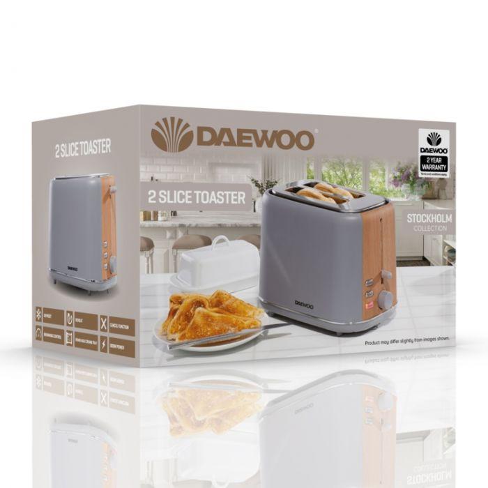 Daewoo Stockholm Toaster 2 Slice Grey