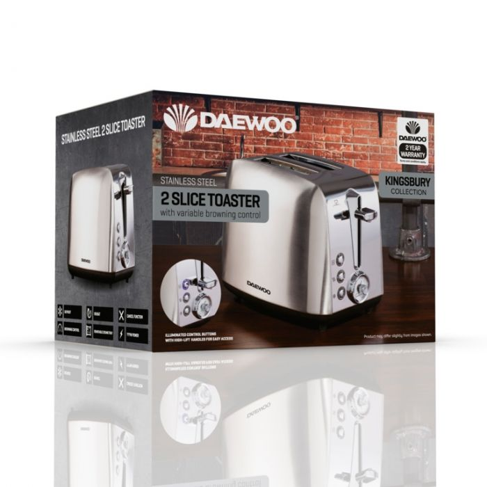 Daewoo Kingsbury Stainless Steel Dial Toaster 2 Slice