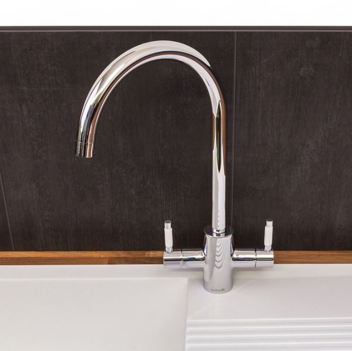 Reginox Genesis Kitchen Tap Chrome With White Ceramic Handles