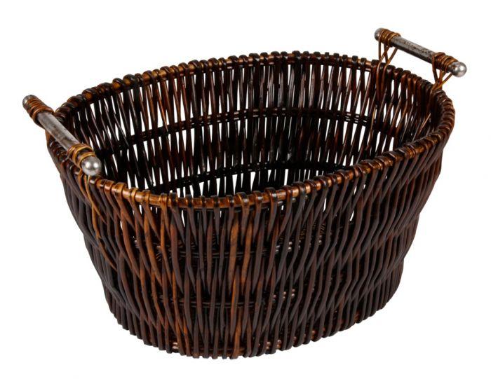 Hearth & Home Dark Wicker Basket With Chrome Handles