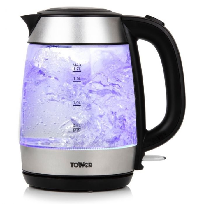 Tower Rapid Boil Glass Kettle 3Kw 1.7L
