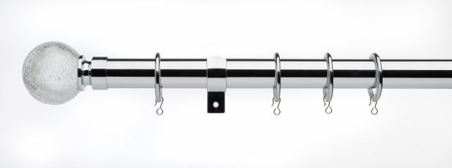 Universal Telescopic Curtain Pole Satin Steel 120Cm - 200Cm