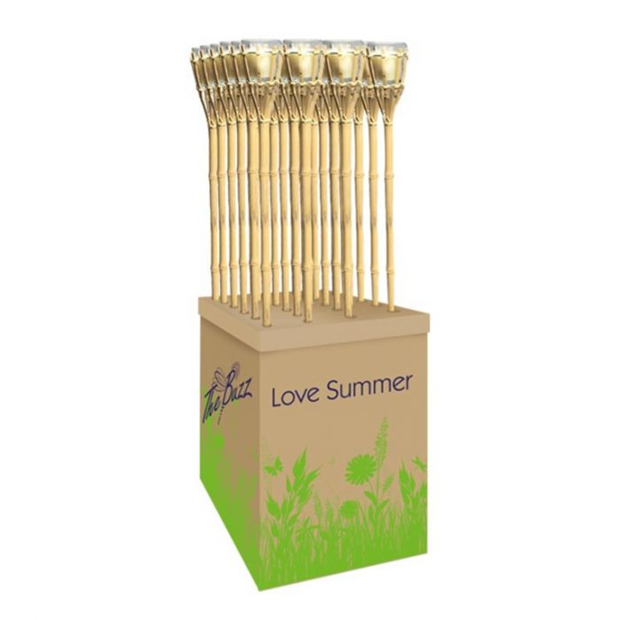 The Buzz Citronella Bamboo Torch Display Unit Of 24