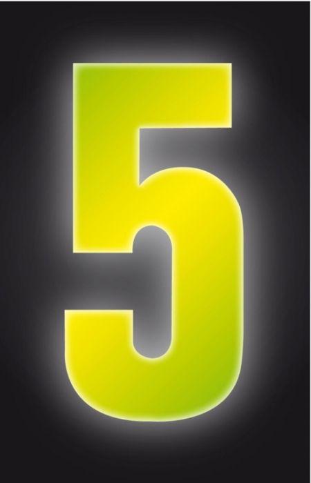 Classic Designs Hi Vis Yellow Wheelie Bin Number 5