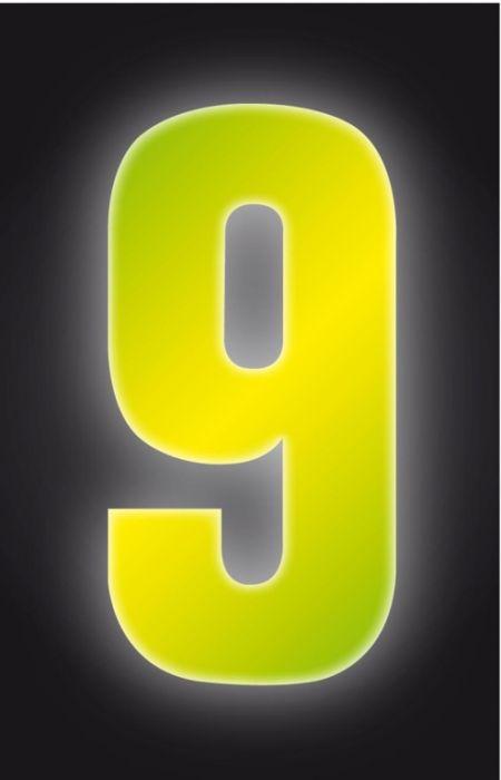 Classic Designs Hi Vis Yellow Wheelie Bin Number 9