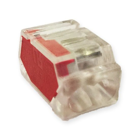 Lyvia 2 Pole Pushwire Connector Transparent With Red Side