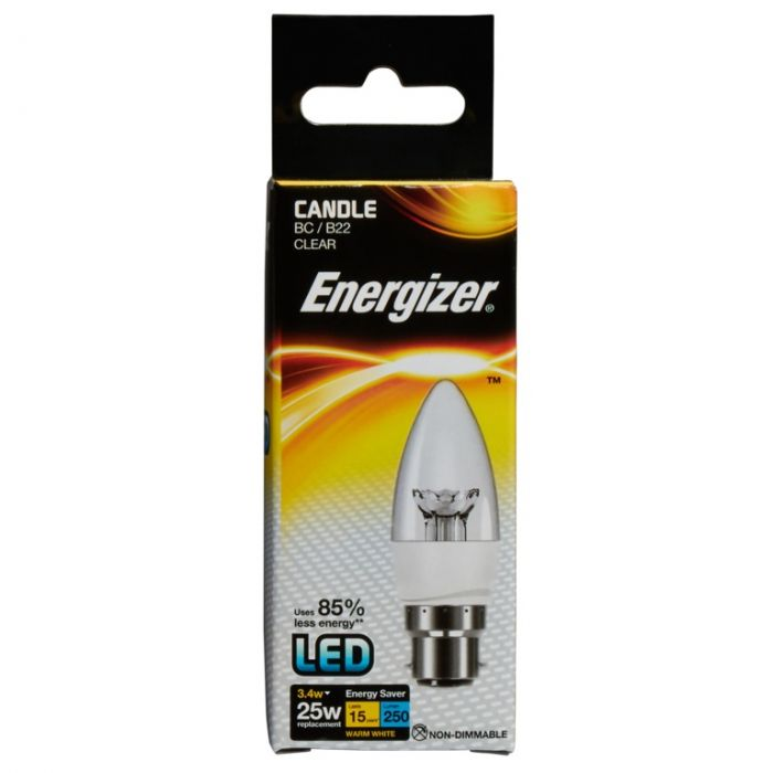 Energizer Led Candle 250Lm B22 Clear Warm White Bc 3.4W