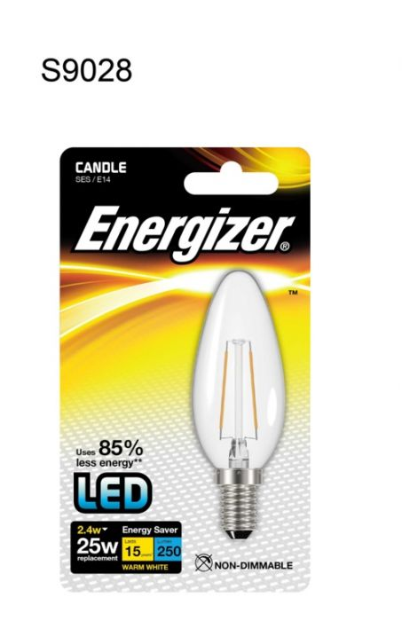 Energizer Filament Led Candle Bulb 250Lm E14 Warm White Ses 2.4W