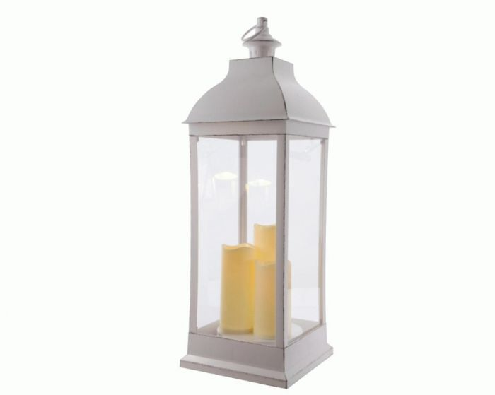 Led Plastic Lantern With 3 Candles & Timer