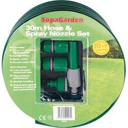 Supagarden Hose & Spray Nozzle Set 30M