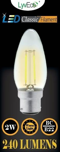 Lyveco Bc Clear Led 2 Filament 240 Lumens Candle 2700K 2 Watt