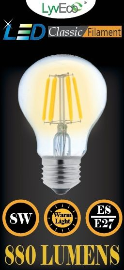 Lyveco Es Clear Led 8 Filament 880 Lumens Gls Dimmable 2700K 8 Watt
