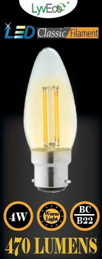 Lyveco Bc Candle Clear Led 4 Filament 470 Lumens Dimmable 2700K 4 Watt