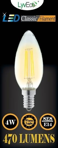 Lyveco Ses Candle Clear Led 4 Filament 470 Lumens Dimmable 2700K 4 Watt