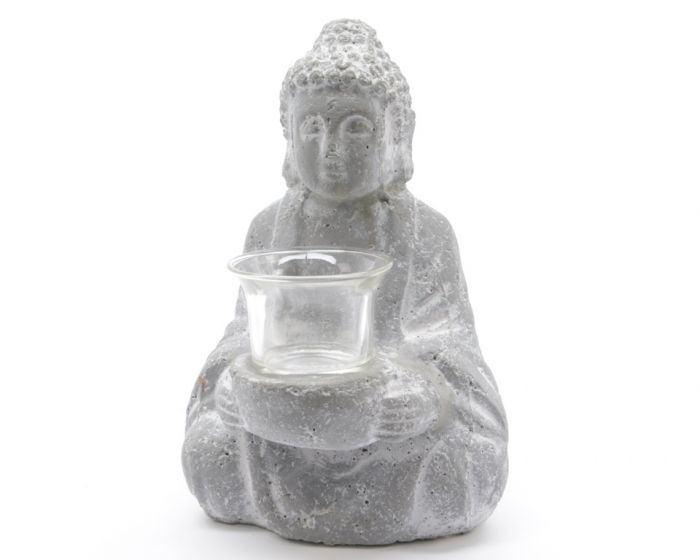 Kaemingk Buddha Tealight Holder With Glass Grey