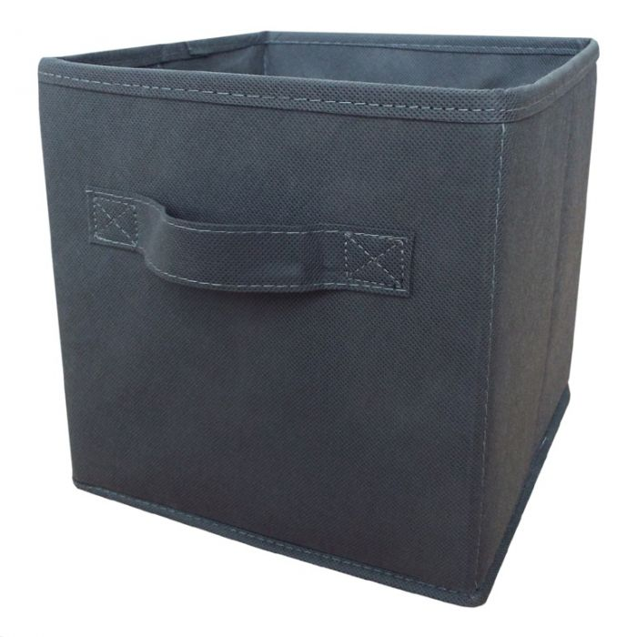 H & L Russel Grey Foldable Storage Box With Lid Medium