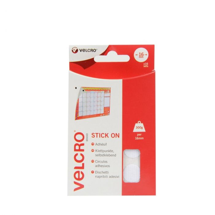 Velcro� Brand Stick On Coins 16Mm X 16 Sets White