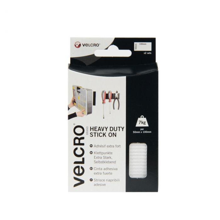 Velcro� Brand Heavy Duty Stick On Strips 50Mmx100mm 2 Sets White